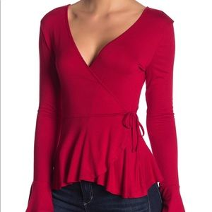 Red Bell Sleeve Wrap Top By Good Luck Gem Size M